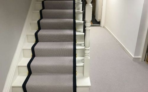 Stair runner bound in cotton tape
